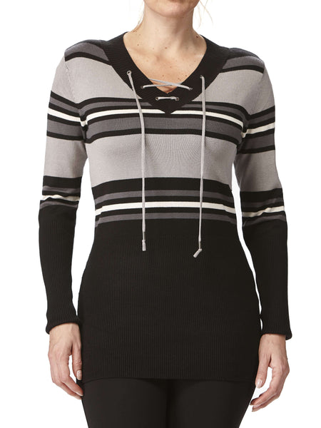 Women's Sweaters on Sale Grey Stripes