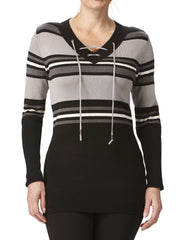 Women's Grey Stripe Sweater On Sale - Yvonne Marie - Yvonne Marie