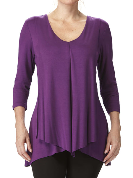Women's Purple Flyaway Tunic Flattering Design - Made in Canada