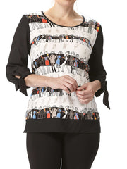 Women's Top With Fun Ladies Print - Made In Canada - Yvonne Marie - Yvonne Marie