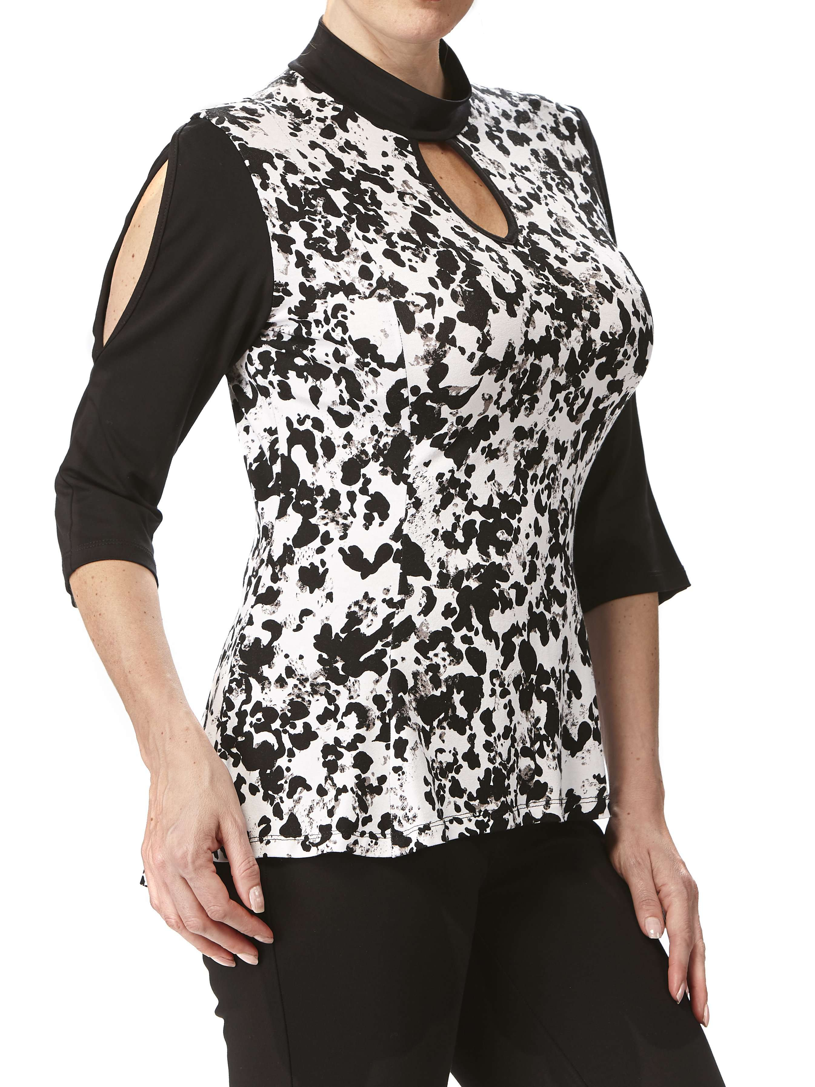 Women's Designer Tops on Sale Black and White Flattering Fit - Made in Canada - Yvonne Marie - Yvonne Marie