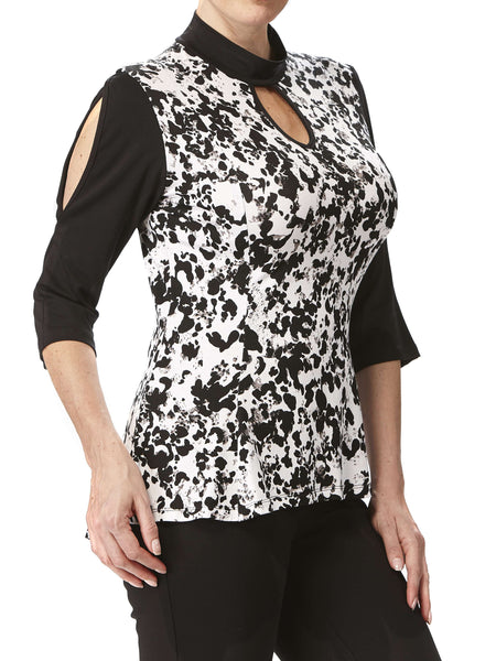 Women's Designer Tops on Sale Black and White Flattering Fit - Made in Canada