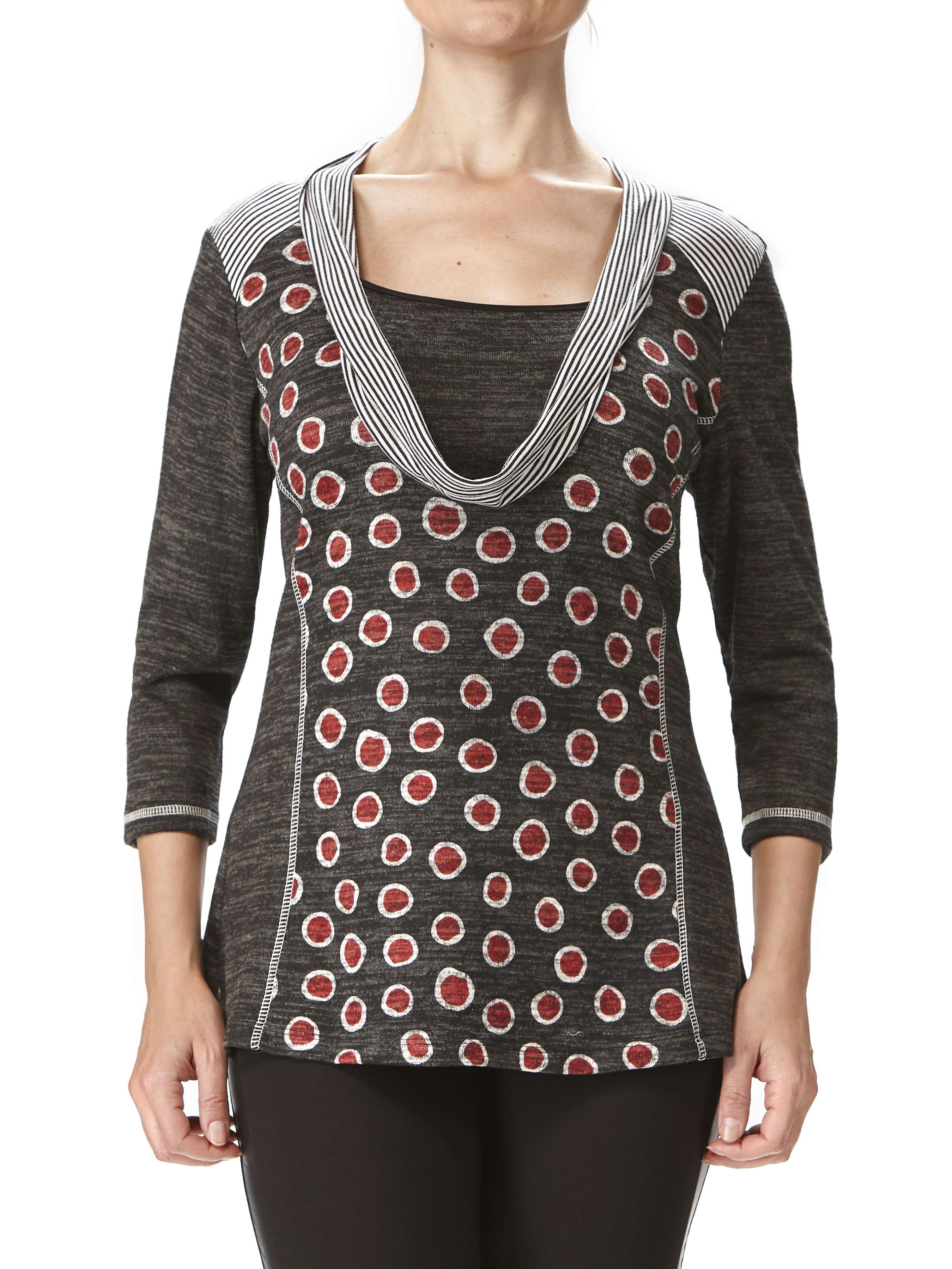 Women's Sweaters on Sale Red and Charcoal Quality Fit - Made in Canada - Yvonne Marie - Yvonne Marie