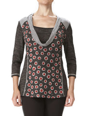Women's Charcoal And Red Sweater - Made In Canada - Yvonne Marie - Yvonne Marie