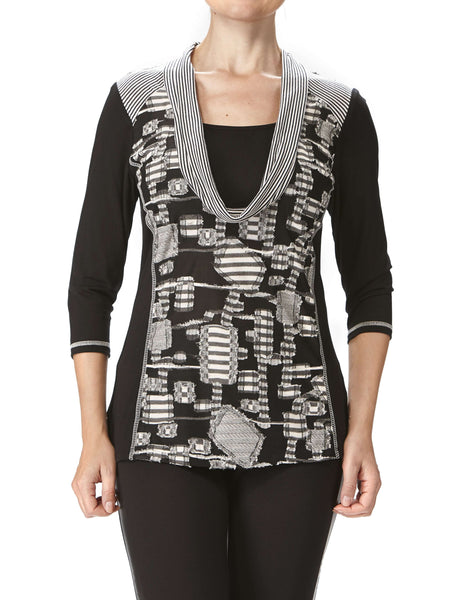 Women's Tops on Sale Designer Quality in Grey Combo - Made in Canada