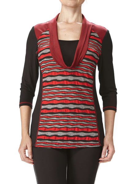 Women's Tops On Sale Canada - Red and Black Comfort Knit Top - Made in Canada