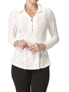 Women's Blouse Ivory Flattering Design - Made in Canada - Yvonne Marie - Yvonne Marie