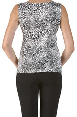 Animal Print Camisole with Draped Neckline Made in Canada - Yvonne Marie