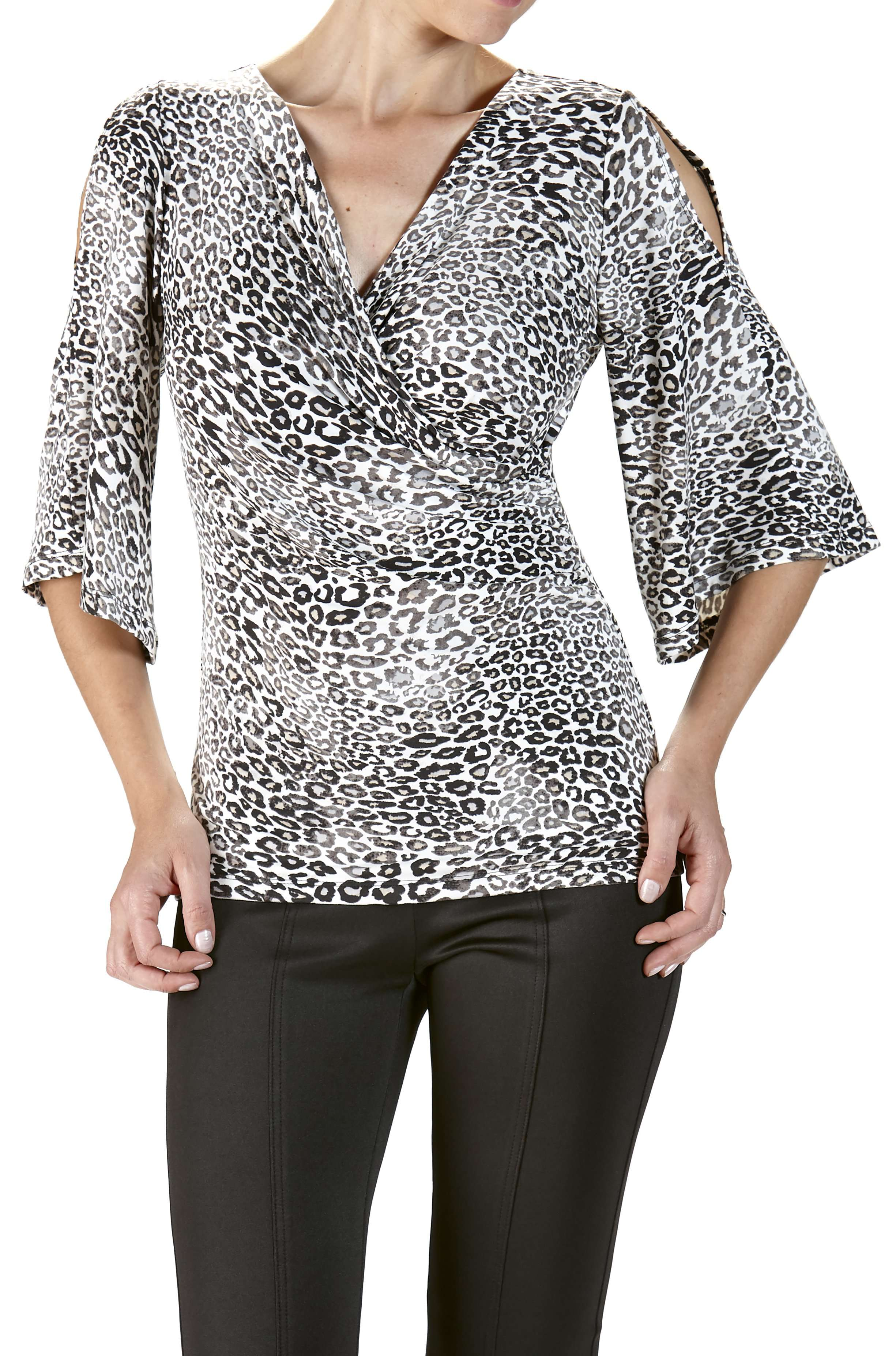 Animal Print Wrap Front Top with Open Sleeve - Yvonne Marie