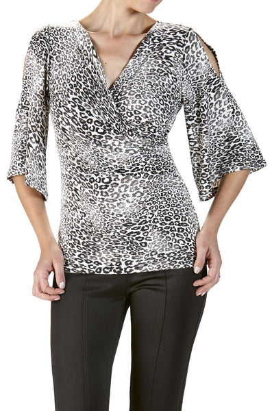 Animal Print Wrap Front Top with Open Sleeve
