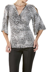 Women's tops on Sale Elegant Animal Print Flattering Design - Made in Canada - Yvonne Marie - Yvonne Marie
