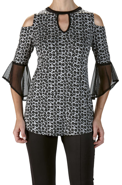 Bell Sleeve Fashion Top In Silver Grey and Black