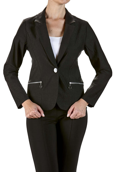 Jacket Black Blazer with Zipper Pockets-Stretch Fabric-Washable