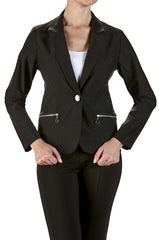 Jacket Black Blazer with Zipper Pockets-Stretch Fabric-Washable - Yvonne Marie