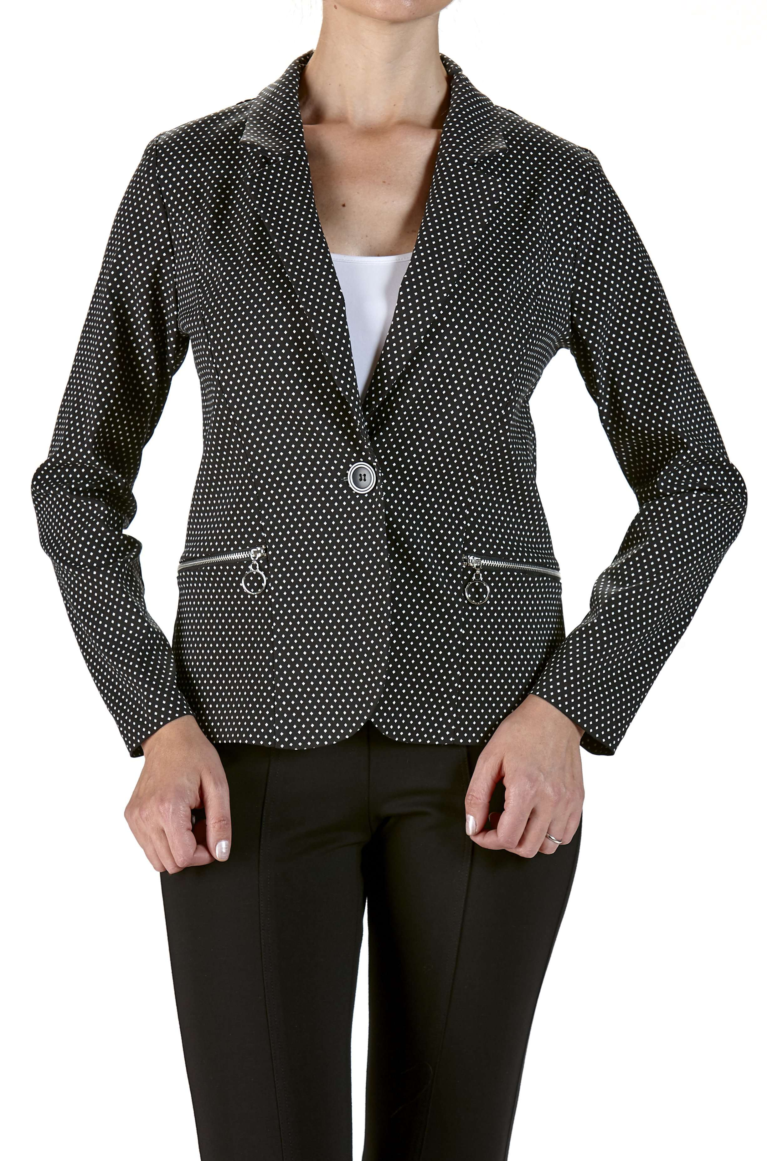 Jacket Black with Small Dots-Zipper Pockets - Yvonne Marie