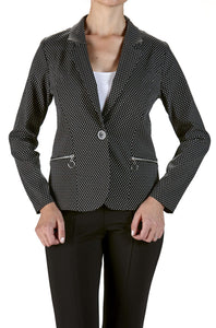 Women's Black Blazer with Dots - Yvonne Marie