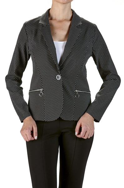 Blazer Jacket in Small Dot Print and Real Zipper Pockets