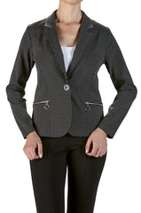 Blazer Jacket in Small Dot Print and Real Zipper Pockets - Yvonne Marie
