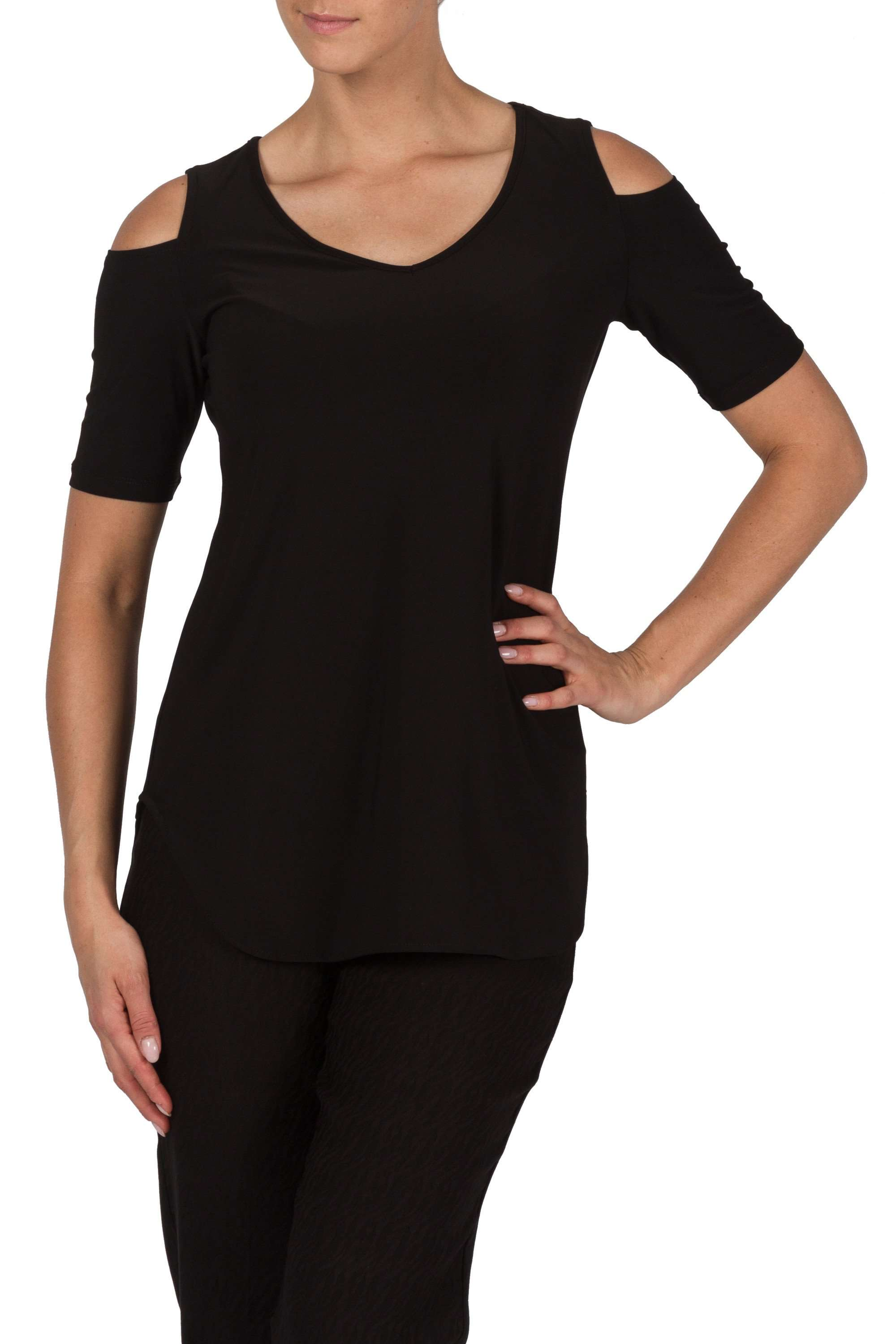 Black Cold Shoulder Tunic Top - Yvonne Marie
