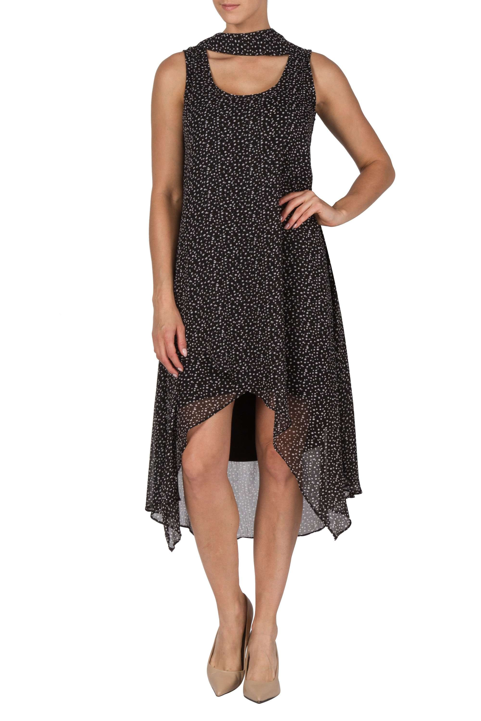 Black Long Chiffon Dress Special Occasions with small Dots - Yvonne Marie