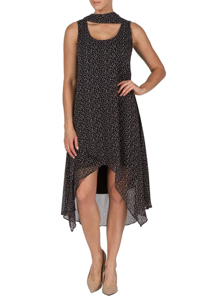 Dress Black Special Occasion-Quality Design-3 pc Dress Black Small Dot Chiffon-Includes Scarf and Slip-Designed By Yvonne Marie-Made in Canada