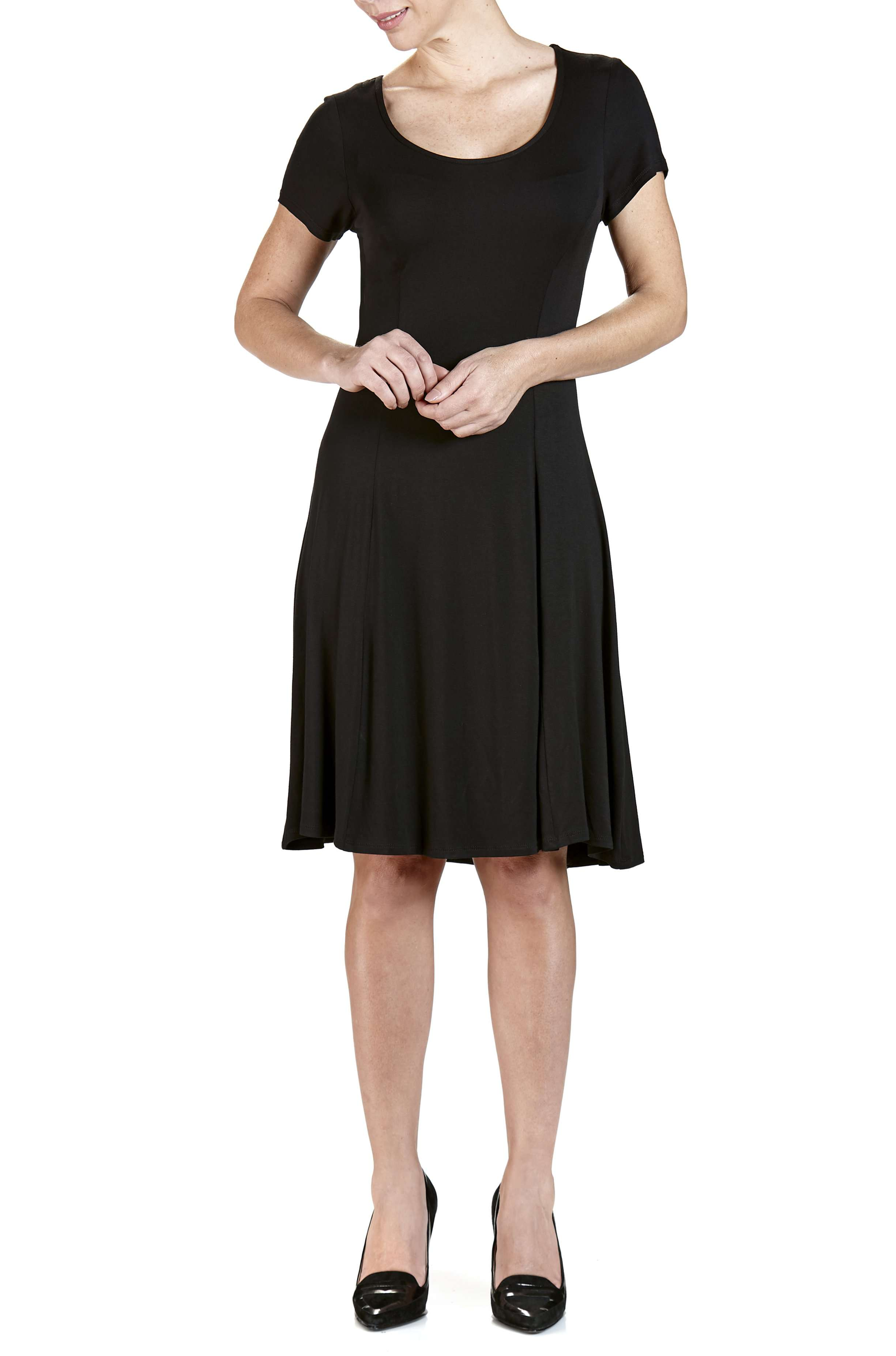 Dress Black Fit and Flare Slimming Effect-Quality and Comfort Made In Canada - Yvonne Marie