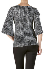 Cross Over Front Top in Black and White Glitter Knit - Yvonne Marie