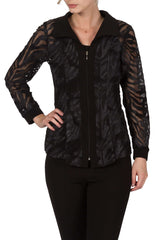 Women's Blouse Black with Zipper Front - Made in Canada - Yvonne Marie - Yvonne Marie