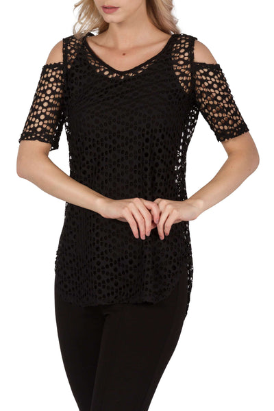 Black Tunic Top Features Elegant Cold Shoulder Detail in Quality Mesh Fabric-Designer By Yvonne Marie made In Canada
