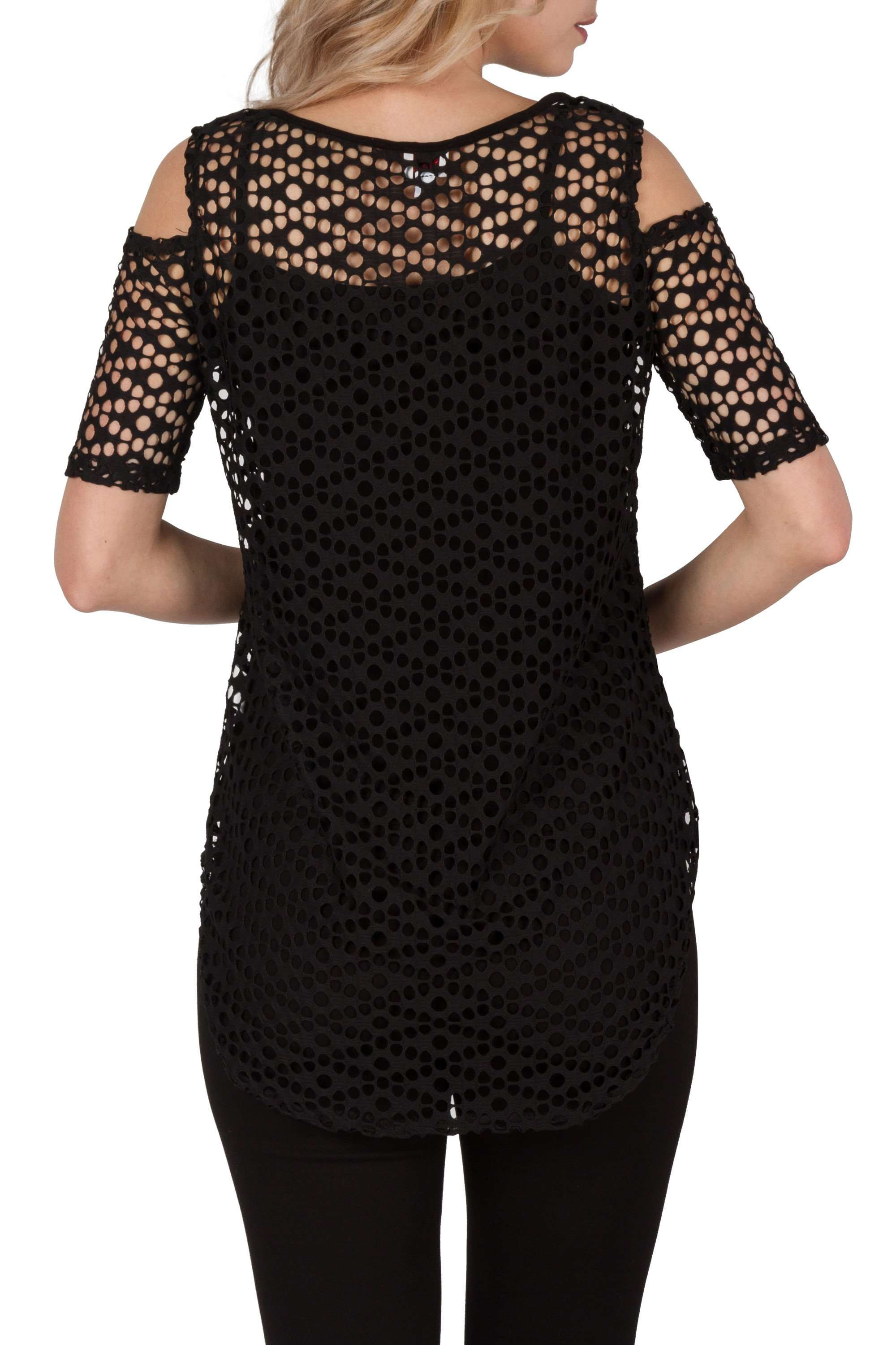 d200dba74139c ... Black Mesh Cold Shoulder Top Enhance All Your Black Bottoms with One  Mysterious Top - Yvonne