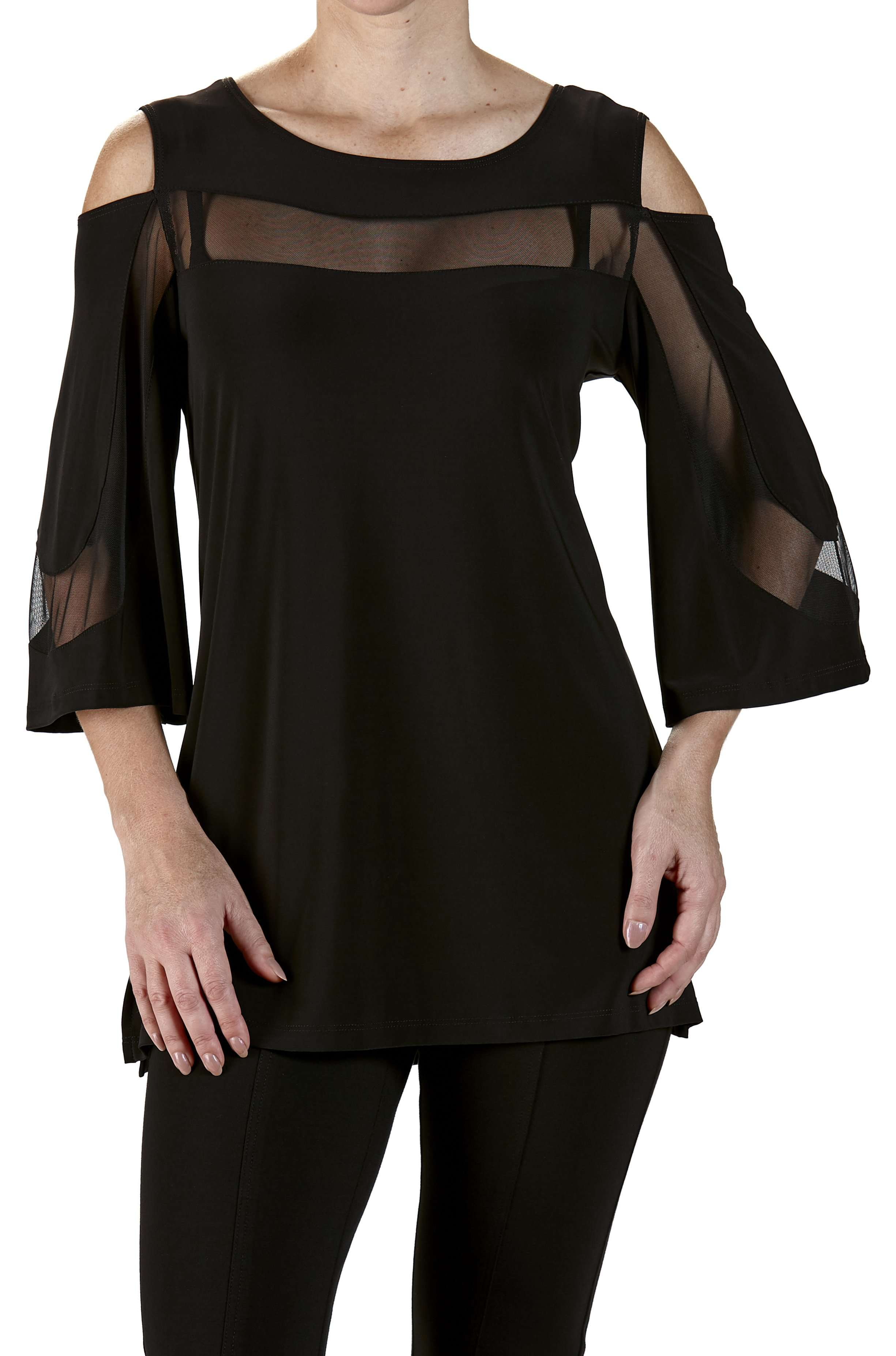 Top Black Tunic With Mesh Trim Open Shoulder - Yvonne Marie