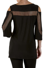 Black Long Tunic Top With Mesh Inserts - Yvonne Marie