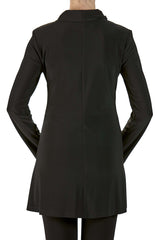 Black Jacket Longer Length in Knit Fabric - Yvonne Marie