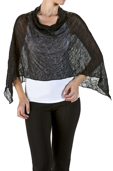 Shawl Bolero Caplet in Black Mesh Soft knit Fabric