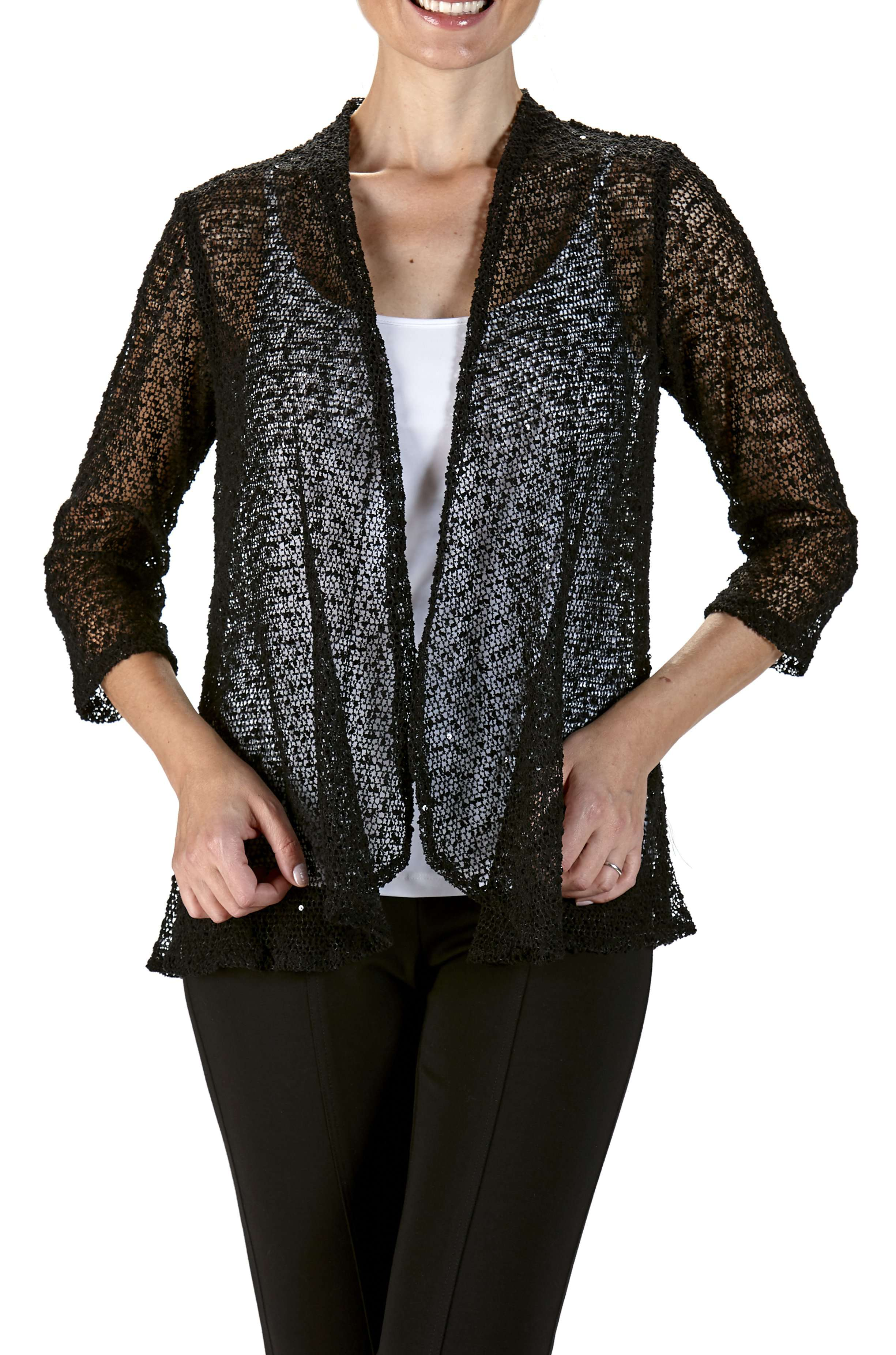 Jacket Black Soft Knit Mesh Fabric-Subtle Glitter-Washable-Made in Canada - Yvonne Marie
