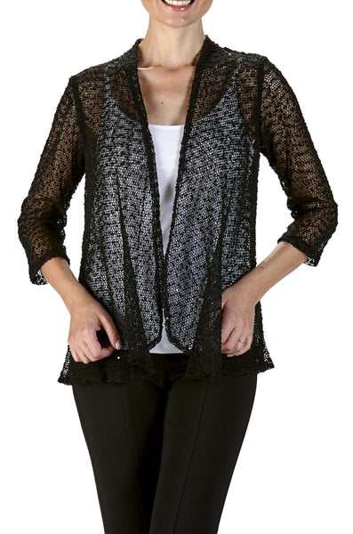 Jacket Black Soft Knit Mesh Fabric-Subtle Glitter-Washable-Made in Canada