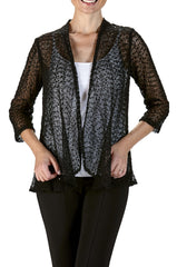 Jacket Black Soft Knit Mesh with Delicate Glitter-Our Best Seller-Enjoy The Quality and Comfort - Yvonne Marie