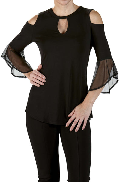 Black Top with Bell Sleeve and Cold Shoulder
