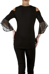 Bell Sleeve Top with Cut out Neckline in Soft Black Knit - Yvonne Marie