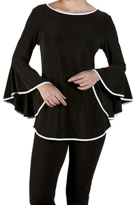 Women's Black and White Blouse With Bell Sleeve - Yvonne Marie - Yvonne Marie