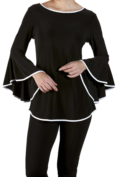 Black Top For Special Occasion Features Bell Sleeve Contrast Trim