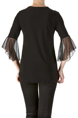 Black Sexy Top with Bell Sleeve and Cut Out neckline-Quality and Comfort -Made in Canada - Yvonne Marie