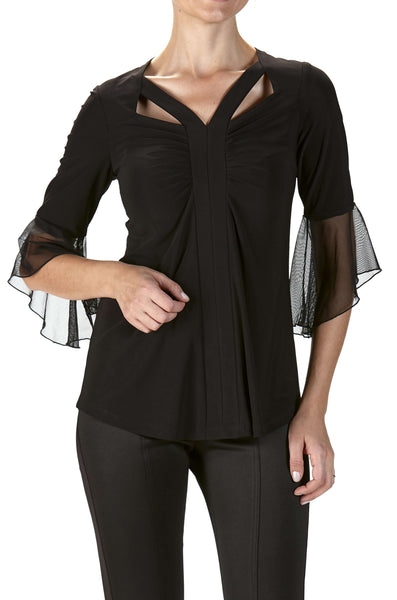 Black Top with Bell Sleeve Fashion Cut out Neckline