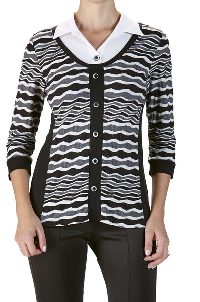 Women's Blouses Canada | Grey and White Blouse | On Sale Now | YM Style