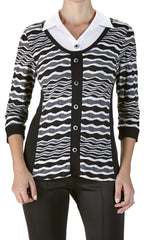 Women's Blouses Canada | Grey and White Blouse | On Sale Now | YM Style - Yvonne Marie