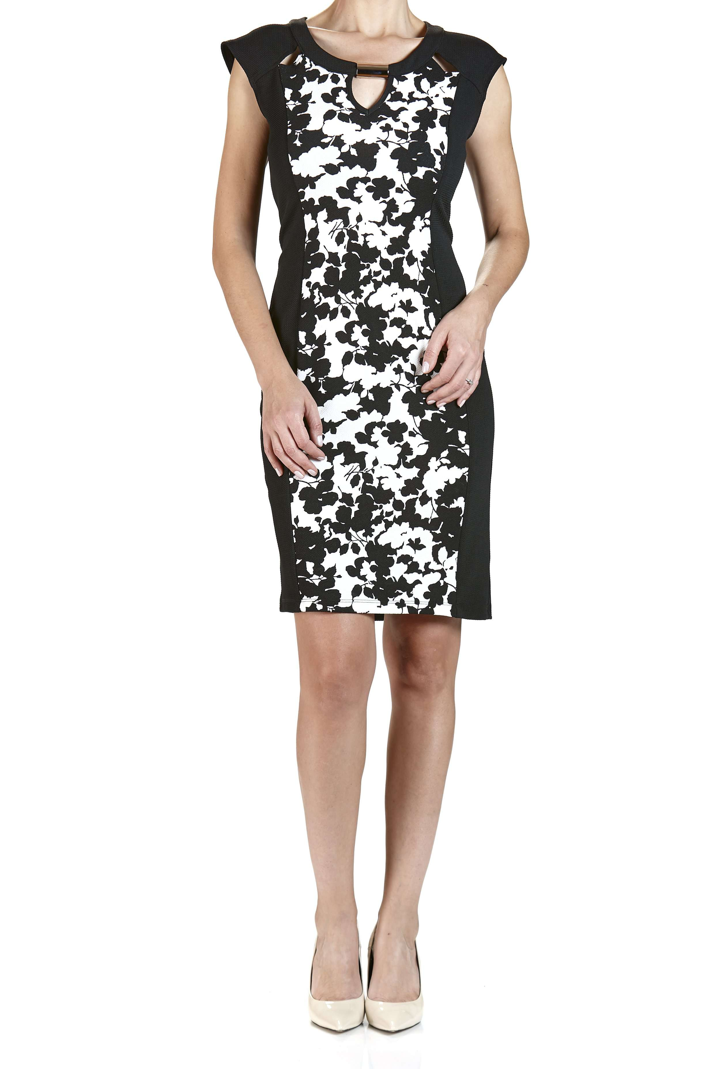 Black and Ivory Dress with Peek-a-boo Neckline - Yvonne Marie