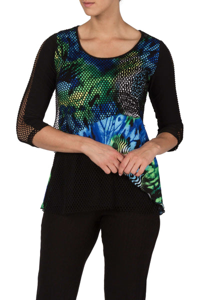 Tunic Top With Mesh Detail Sleeves Aqua Print Made In Canada