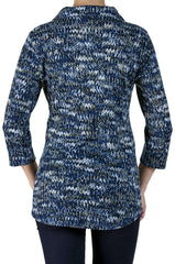 Women's Sweaters 50 Off - Blue Zip Front Sweater - Made in Canada - Shop Local - Yvonne Marie - Yvonne Marie