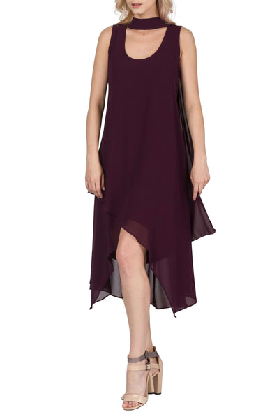 Dress Wine Plum Color in Chiffon Fabric-Elegant and Classy Design By Yvonne Marie-Made in Canada