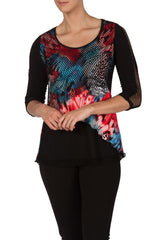 Tunic Top Coral/Turq print with Mesh Sleeve Detail Made in Canada - Yvonne Marie